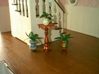 Painted Pots with Plants and Copper Table.JPG