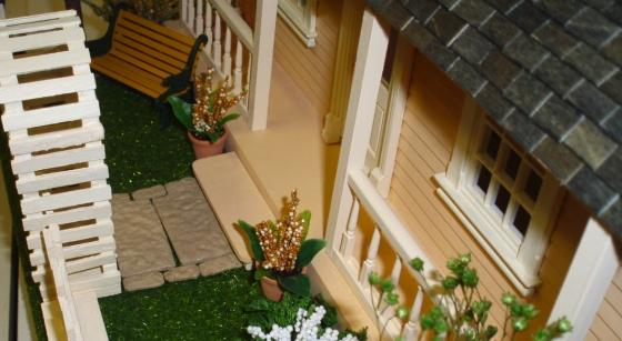 "Puzzle house (half scale) - planters and ""flagstone"" path"