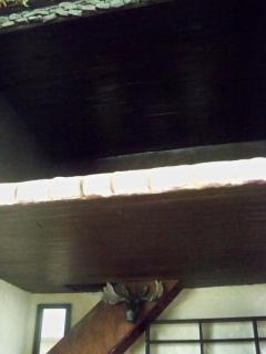 The ceilings are both wood paneling