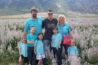Bill and I with our son Ben and five of the grands in Utah!
