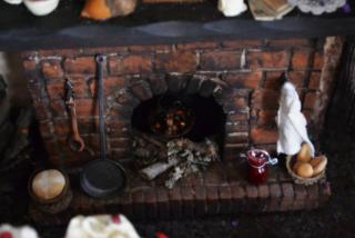 fireplace, with strawberry jam cooling