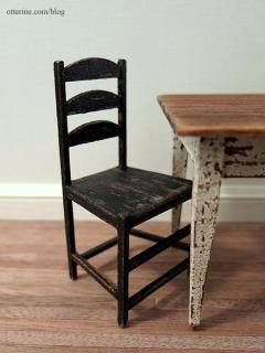 Aged kitchen table and chairs - detail