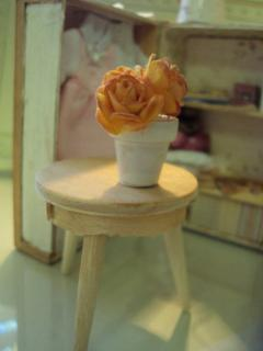 Hand tinted roses on scratch built stool