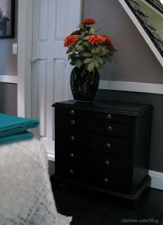 Dresser and dahlias