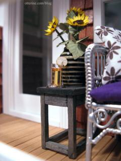 Porch table with sunflowers