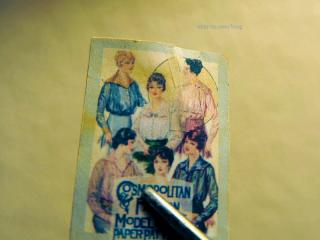 Vintage sewing pattern - torn and repaired with tiny strips of tape