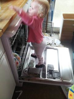 7. Helping stack The dish washer