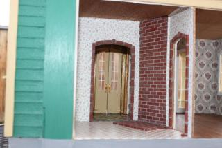 The kitchen, real brick with mortar for the stove wall
