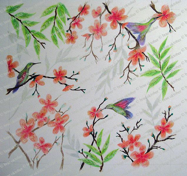 Hummingbird shower mural - drawing completed