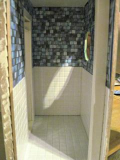 All the bathroom walls are done, they're not glued in place yet, but you get the idea :)