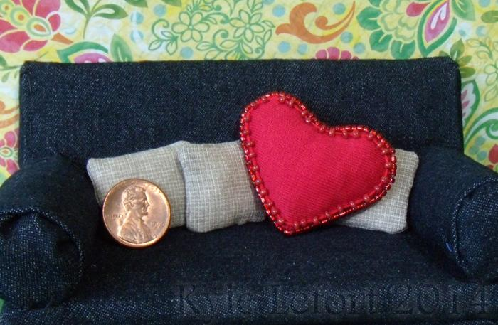 Red beaded heart pillow