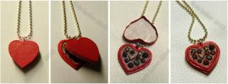 OOAK Mini Sweetheart Candy Box Necklace - Mixed Media Jewelry Piece