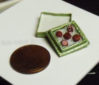 Miniature Box of Chocolates - Green Square Box