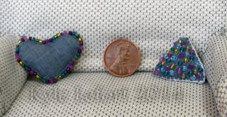 denim blue Fun shapes miniature beaded pillows