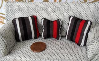 striped pillow trio Set blanket stitched