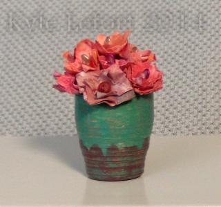 OOAK Red splash vase miniature flower arrangement