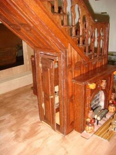 Garfield staircase with tiny hall closet & fireplace