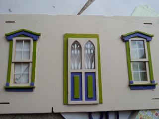 F: Dollhouse front with pediments