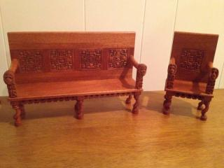 1/6 carved bench and chair