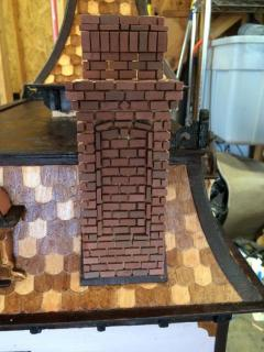 Half of the chimney bricks are in place