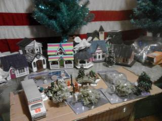 close up of all the little Dollar Tree goodies I have to go with my village