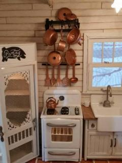 Crooked pot rack & cheap painted copper...
