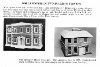 1977 78 Minutiques catalogue Tiger Toys Queen Anne Dh 12th Sc & Hollyport House 16th Sc