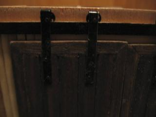 Sliding barn doors, closeup of hardware
