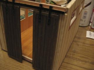 Sliding barn doors, opened