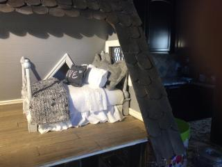 Handmade Dollhouse Bed with Bedding