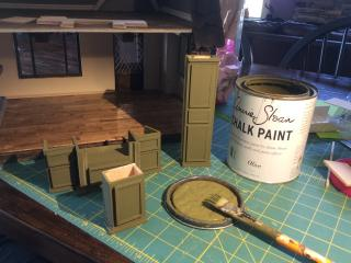 Annie Sloan Olive Chalkpainted Kitchen Cabinetry