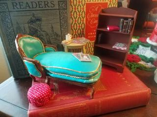 French chaise, occasional table, and bookshelf