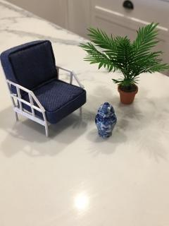 Cane Chair, Palm & Vase
