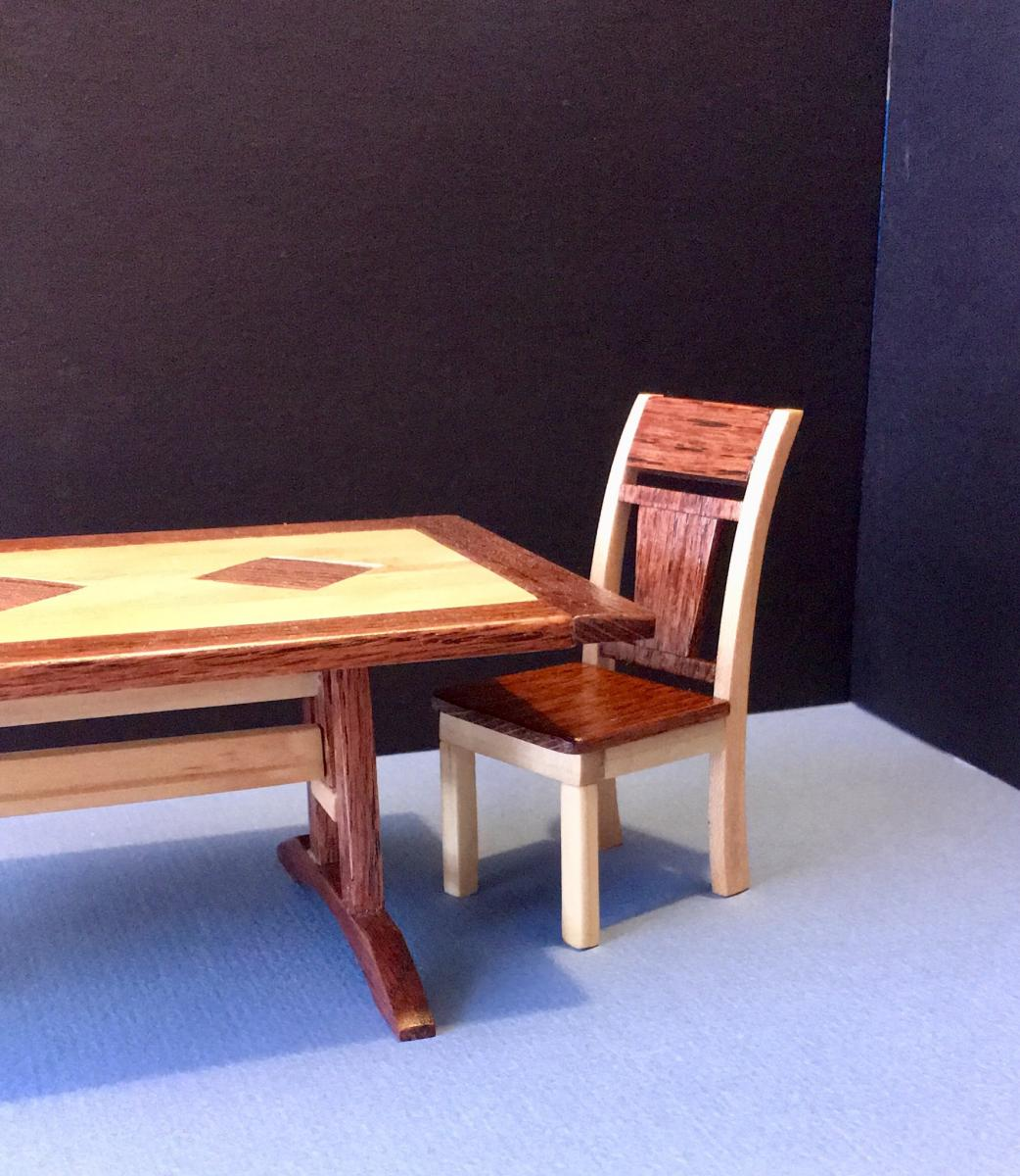 Oak table and chair