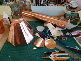 Working on the copper roof