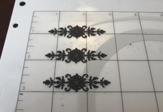 Silhouette Curio cutting ornate hinges