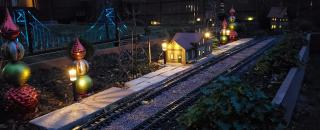 Garden Scale train station at night