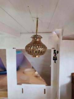 Pendant lights in living area